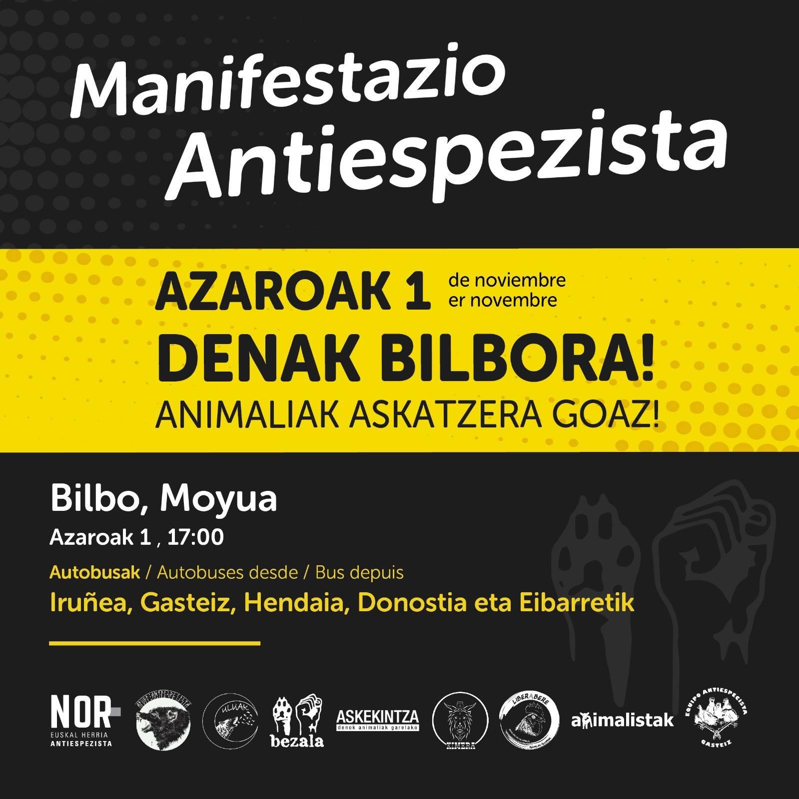 Manifestación Antiespecista 1 de noviembre Bilbao